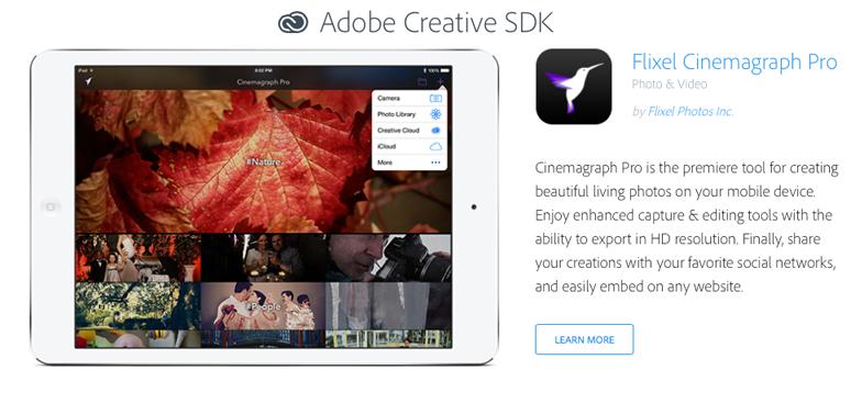 Flixel Cinemagraph Pro in Adobe Creative SDK featured apps