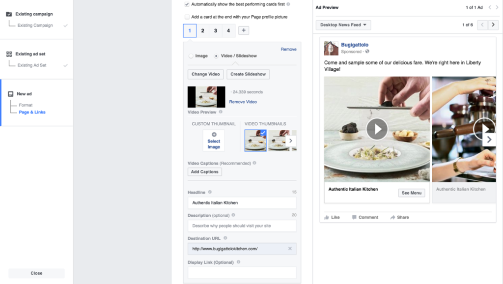 Upload Cinemagraphs Carousel Facebook Ads