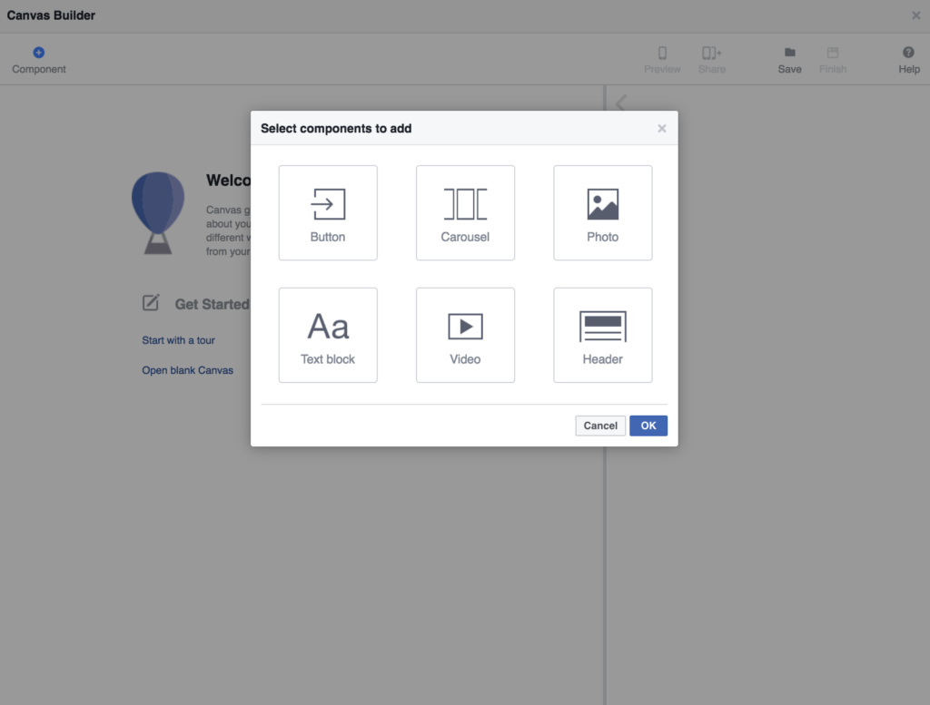 canvas ad components facebook ads