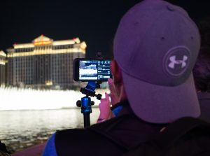 Shooting cinemagraphs at the Bellagio Fountains on our Flixel Walk in Las Vegas with Joby